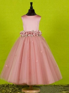A-line Scoop Ankle-length Tulle Flower Girl Dress