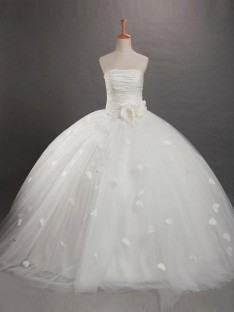 Ball Gown Strapless Floor-length Tulle Flower Girl Dress