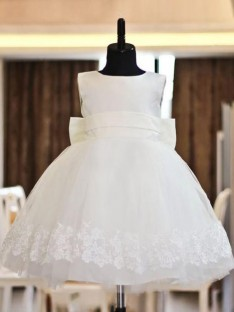 A-line Scoop Lace Floor-length Organza Flower Girl Dress