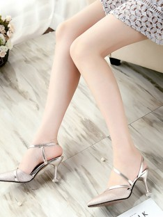 PU Stiletto Heel Closed Toe Sandals