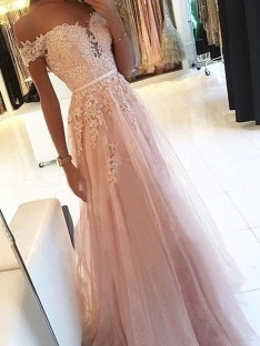 A-Line Off-the-Shoulder Floor-Length Tulle Dress