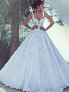 Ball Gown Scoop Sweep/Brush Train Lace Satin Wedding Dress