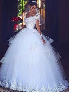 Ball Gown Sweetheart Long Sleeves Floor-Length Lace Tulle Wedding Dress