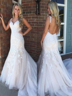 Mermaid V-neck Sweep/Brush Train Tulle Wedding Dress