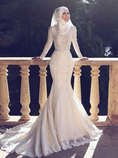 Mermaid Jewel Long Sleeves Sweep/Brush Train Lace Tulle Wedding Dress