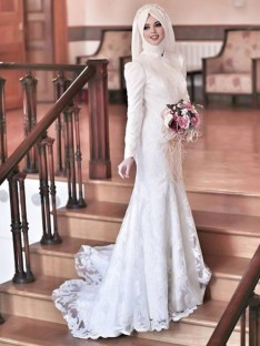 Mermaid High Neck Long Sleeves Sweep/Brush Train Lace Tulle Wedding Dress