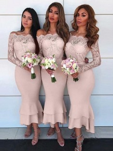 Sheath Off-the-Shoulder Long Sleeves Ankle-Length Chiffon Bridesmaid Dress