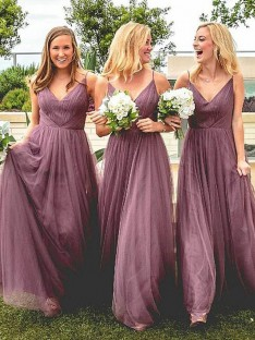 A-Line Spaghetti Straps Floor-Length Tulle Bridesmaid Dress