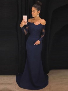Mermaid Off-the-Shoulder Long Sleeves Sweep/Brush Train Lace Satin Dress