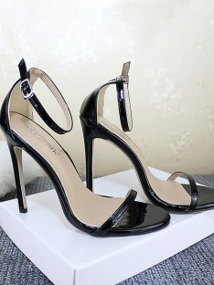 Leather Stiletto Heel Peep Toe Sandals