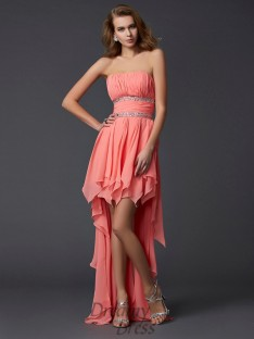 Empire Strapless Chiffon Asymmetrical Dress