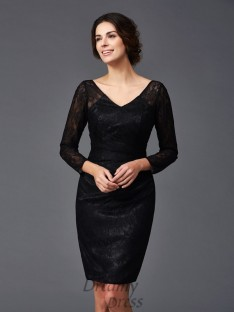 Lace Long Sleeves V-neck Knee-Length Mother of the Bride Dress