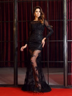 Long Sleeves Bateau Lace Sweep/Brush Train Dress