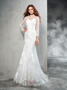 Long Sleeves Lace Sweep/Brush Train Net Wedding Dress