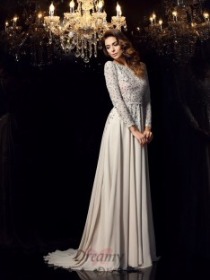 Long Sleeves Scoop Chiffon Court Train Dress