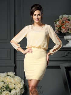 Long Sleeves Scoop Short/Mini Chiffon Mother of the Bride Dress