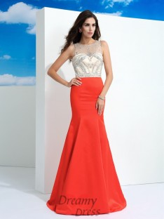 Mermaid Floor-Length Satin Dress