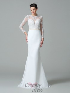 Mermaid Jewel Long Sleeves Sweep/Brush Train Satin Wedding Dress