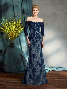 Mermaid Off-the-Shoulder Long Lace Mother of the Bride Dress