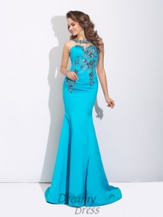 Mermaid Scoop Sweep/Brush Train Satin Dress