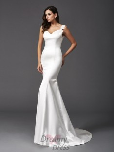 Mermaid Straps Sweep/Brush Train Satin Wedding Dress