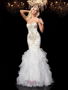 Mermaid Sweetheart Floor-Length Organza Dress