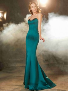 Mermaid Sweetheart Sleeveless Long Satin Dress