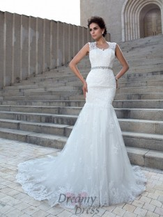 Mermaid V-neck Chapel Train Lace Wedding Dress