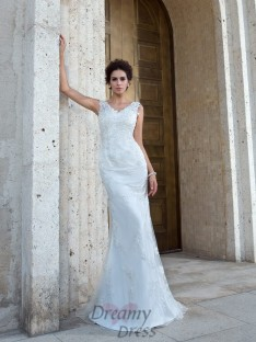 Mermaid V-neck Sweep/Brush Train Net Wedding Dress
