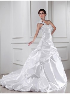 A-Line/Princess One-shoulder Sweetheart Chapel Train Elastic Woven Satin Wedding Dress