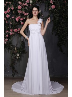 A-Line/Princess One-Shoulder Chapel Train Chiffon Wedding Dress
