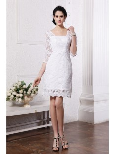 Sheath/Column Half Sleeves Bateau Short/Mini Lace Wedding Dress