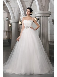 Ball Gown Strapless Feather Chapel Train Net Wedding Dress
