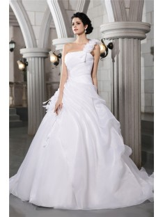 Ball Gown One-Shoulder Chapel Train Organza Wedding Dress