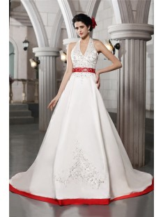 A-Line/Princess V-neck Chapel Train Satin Wedding Dress