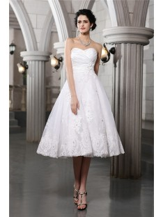 A-Line/Princess Sweetheart Tea-Length Taffeta Wedding Dress