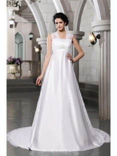 A-Line/Princess Lace Chapel Train Satin Wedding Dress
