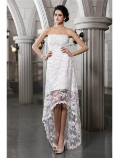 Sheath/Column Strapless Asymmetrical Lace Wedding Dress