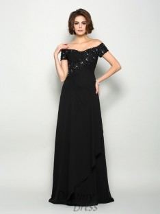 Off-the-Shoulder Short Sleeves Chiffon Long Mother of the Bride Dress