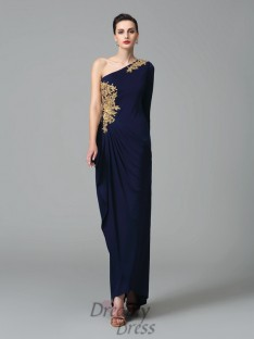 One-Shoulder Embroidery Long Sleeves Long Dress