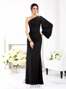 One-Shoulder Long Sleeves Chiffon Long Dress