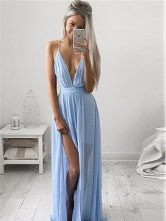 A-Line/Princess Spaghetti Straps Sleeveless Chiffon Ruched Floor-Length Dresses