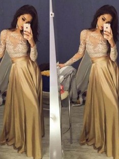 A-Line/Princess Long Sleeves Scoop Satin Floor-Length Two Piece Dresses