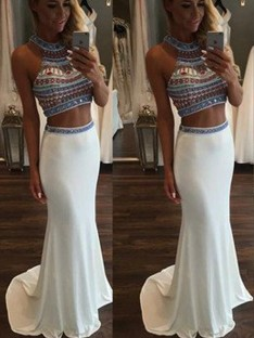 Trumpet/Mermaid Sleeveless Halter Sweep/Brush Train Chiffon Two Piece Dresses