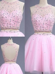 A-Line/Princess Sleeveless Scoop Short/Mini Tulle Two Piece Dresses