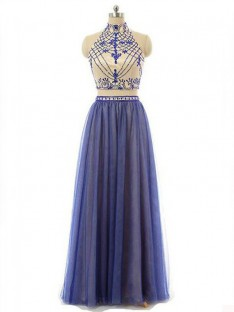 A-Line/Princess Sleeveless High Neck Chiffon Floor-Length Two Piece Dresses