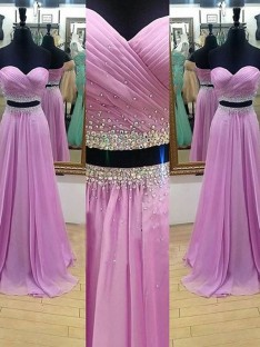 A-Line/Princess Sweetheart Sleeveless Floor-Length Chiffon Two Piece Dresses