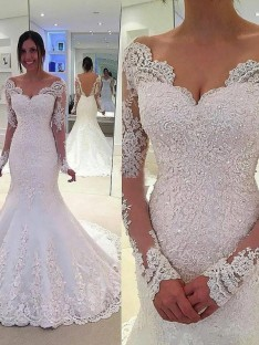 26cac03dfd Trumpet Mermaid V-neck Long Sleeves Lace Court Train Tulle Wedding Dress