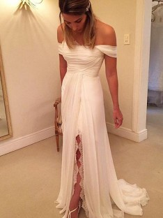 A-Line/Princess Sweep/Brush Train Off-the-Shoulder Sleeveless Chiffon Wedding Dress