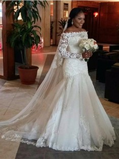 Trumpet/Mermaid Off-the-Shoulder Long Sleeves Lace Floor-Length Tulle Wedding Dress
